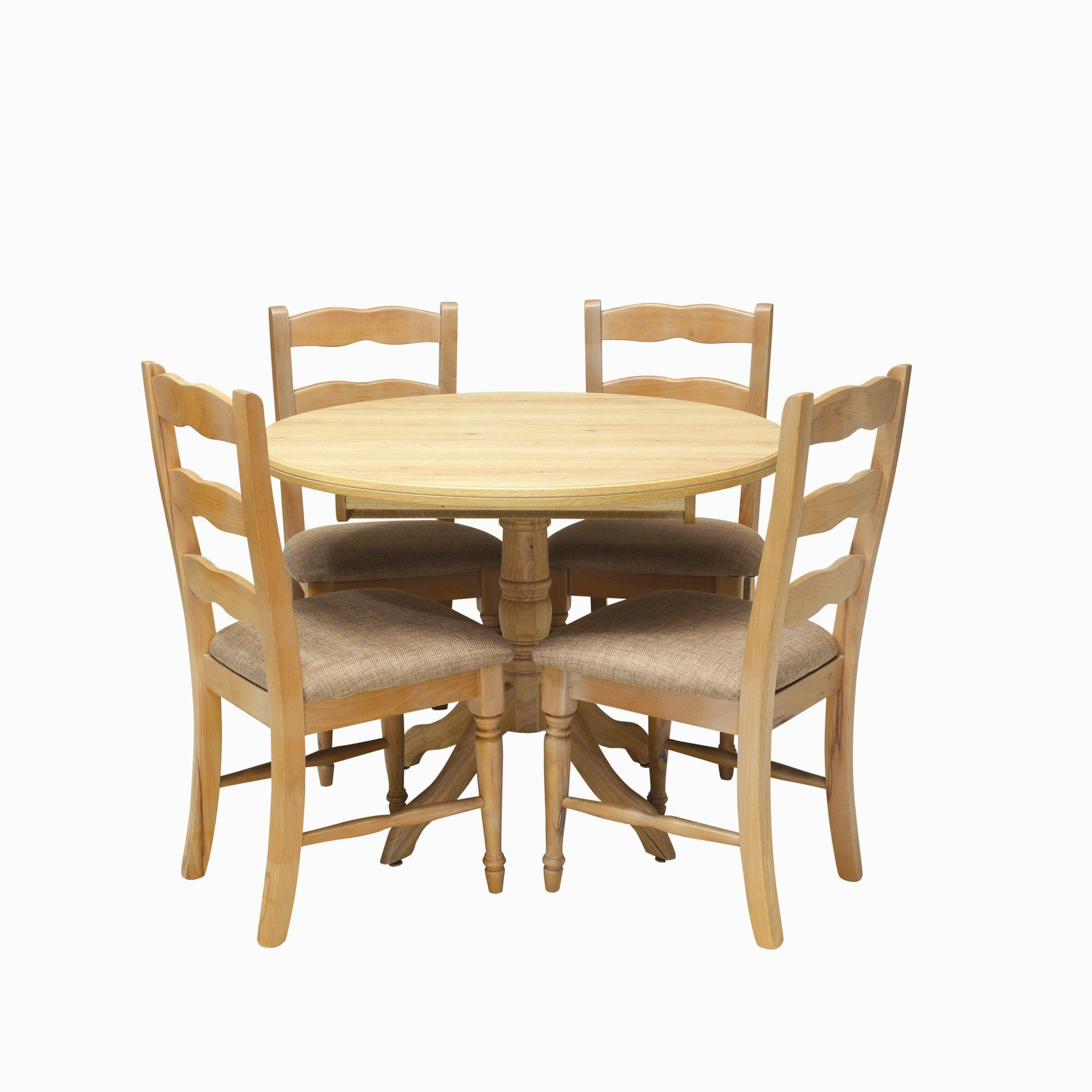 Caxton Driftwood Round Extending Dining Set with 4 Ladder Back Chairs in Limed Oak at Tesco Direct