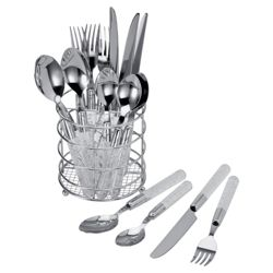 Tesco 16 piece, 4 Person Cutlery Set with Caddy