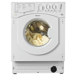 Hotpoint BHWM129 Integrated Washing Machine, 6kg Wash Load, 1200 RPM Spin, A+ Energy Rating. White