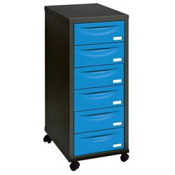 Pierre Henry A4 6 Drawer Filing Cabinet, Black With Blue Drawers