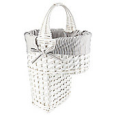 Tesco White Wicker Grey Stripe Lined Stair Basket