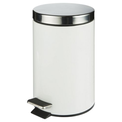 Tesco White Stainless Steel Bin