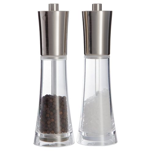 Cole & Mason Clear and Chrome Salt and Pepper Mill Gift Set
