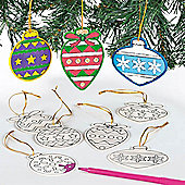 Wooden Printed Bauble Decorations (12 Pcs)