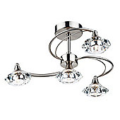Striking Simplistic Satin Chrome 4 Light Semi Flush Ceiling Fitting