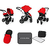 Ickle Bubba Stomp V3 AIO Travel System/Mosquito Net Red (Silver Chassis)