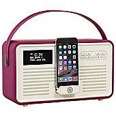 VQ Retro MK II DAB/DAB+/FM/Bluetooth Radio with Apple Lightning Dock (Purple)