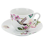 Accessorize With Love 0.21L Porcelain Regular Cup and Saucer in Floral and Bird (Set of 6) - White