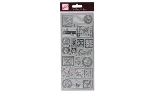 Outline Stickers Postage Stamps Butterflies Silver