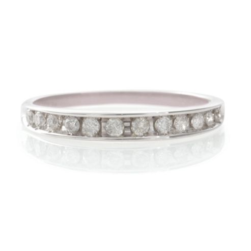 9ct White Gold 25Pt Diamond Eternity Ring, L