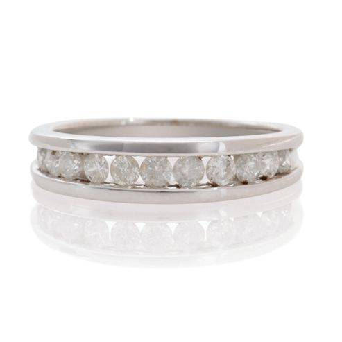 9ct White Gold 50Pt Diamond Eternity Ring, Q