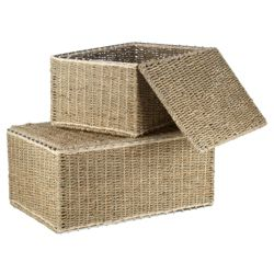 Seagrass Lidded Trunks Set Of 2