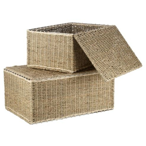 Tesco Seagrass Lidded Trunks Set Of 2