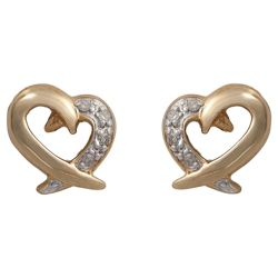 9ct Gold Diamond Heart Studs