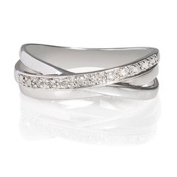 9ct White Gold Diamond Triple Crossover Ring, N