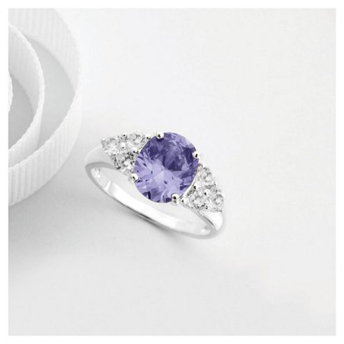 Sterling Silver Purple Cubic Zirconia  Ring, Large