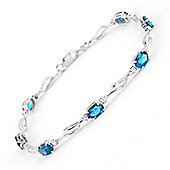 QP Jewellers 8.5in Diamond & Blue Topaz Classic Tennis Bracelet in 14K White Gold