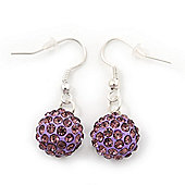 Purple/ Lavender Crystal 'Ball' Drop Earrings In Silver Plating - 35mm Length