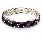 Stripy Purple Enamel Hinged Bangle Bracelet (Silver Tone)