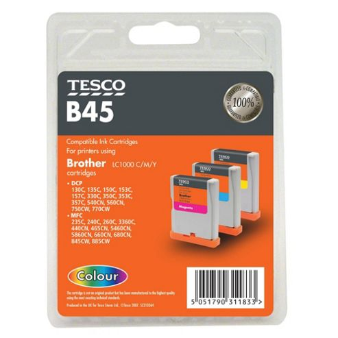 Tesco B45 Colour Printer Ink Cartridge (Compatible with printers using Brother LC1000 C/M/Y Cartridge)