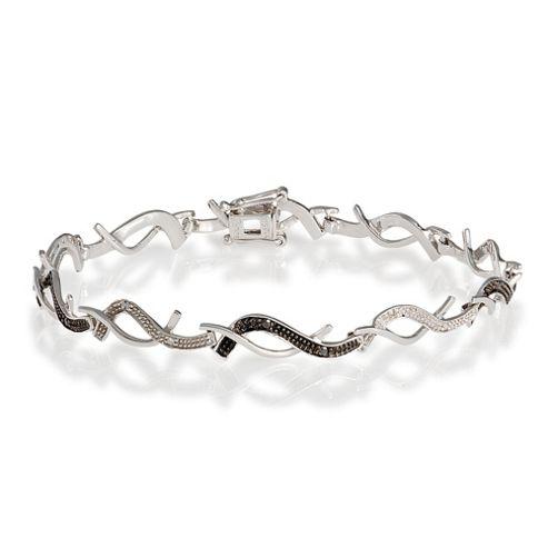 9ct White Gold Black And White 19Pts Diamond Bracelet