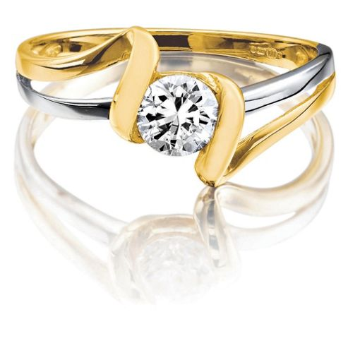 9ct Two Tone Gold Cubic Zirconia Ring, N