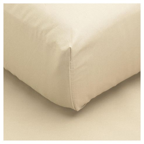 buy tesco brushed cotton single fitted sheet cream from. Black Bedroom Furniture Sets. Home Design Ideas