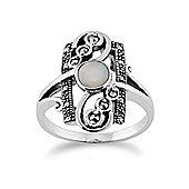 Gemondo Sterling Silver 0.28ct Opal Cabochon & 0.15ct Marcasite Art Nouveau Ring