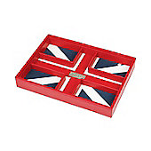 Red Union Jack 5 Compartment Stacker Storage Box - Valet Tray