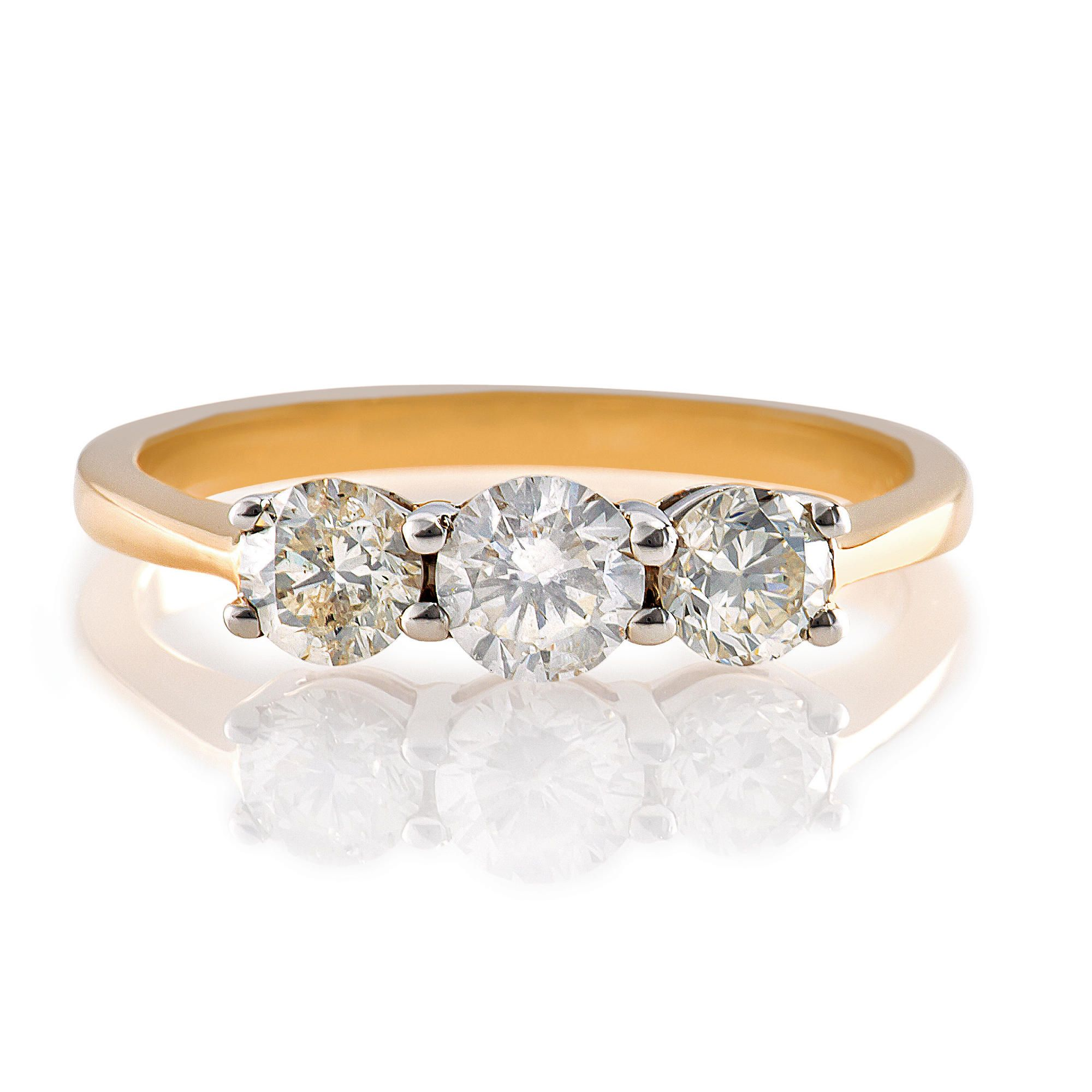 9ct Gold 1ct 3 Stone Diamond Ring, P at Tesco Direct