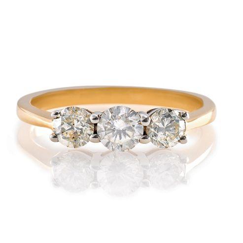 9ct Gold 1ct 3 Stone Diamond Ring, P