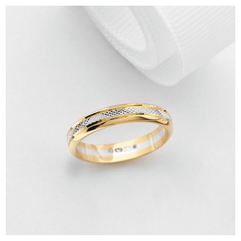 9ct Gold Two Tone Ladies 3mm Wedding Band, N