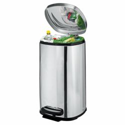 Tesco 40L square polished stainless steel 2 section bin
