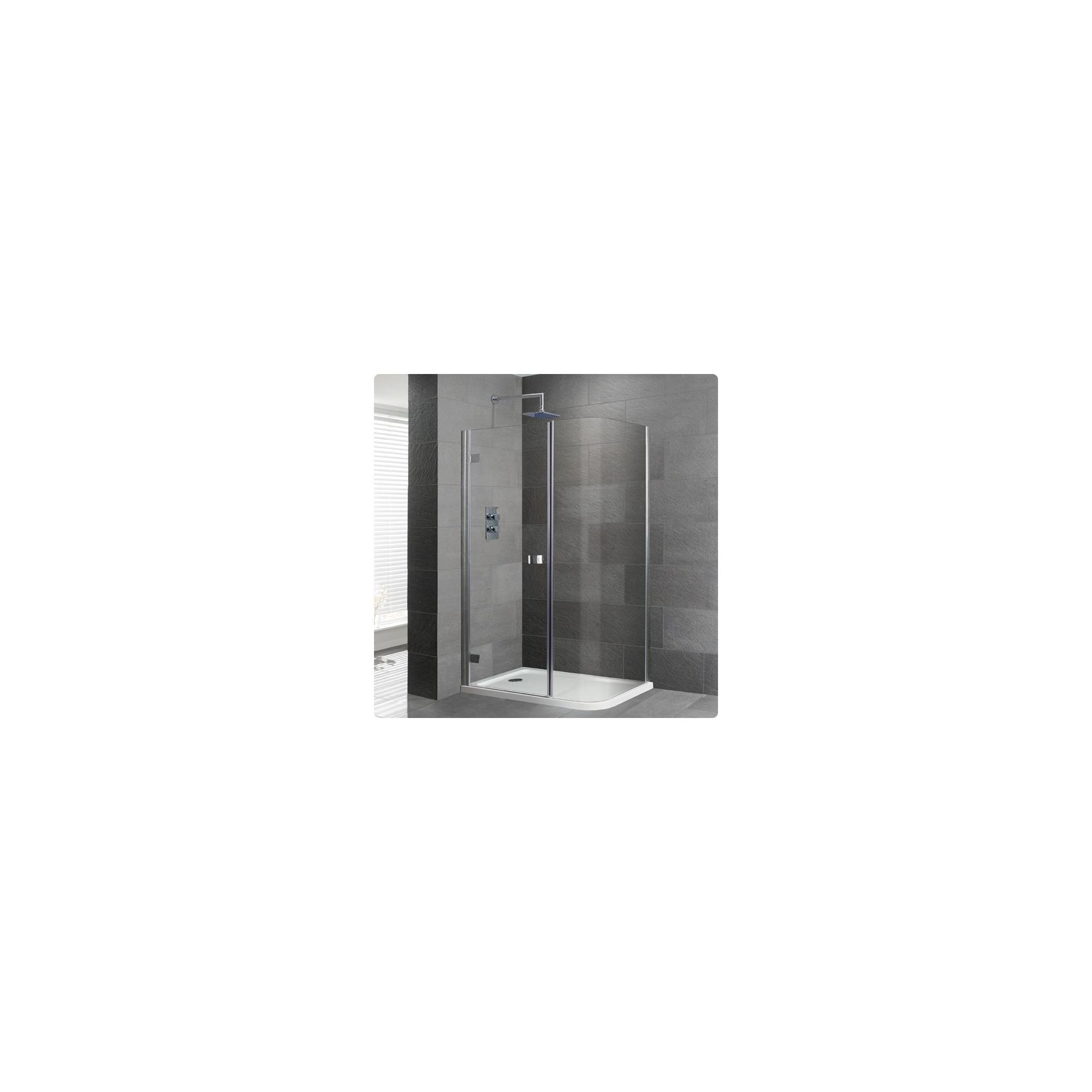 Duchy Select Silver Curved Corner Shower Enclosure 1200mm x 800mm, Standard Tray, 6mm Glass at Tescos Direct