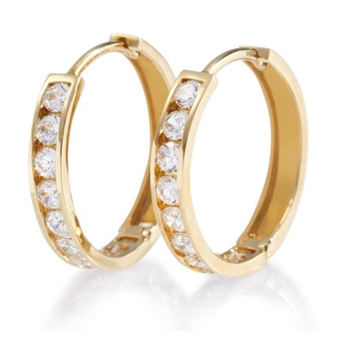9ct Gold Cubic Zirconia Single Row Hoop Earrings