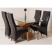 Valencia Glass & Oak 160 cm Dining Table with 4 Brown Lola Leather Chairs
