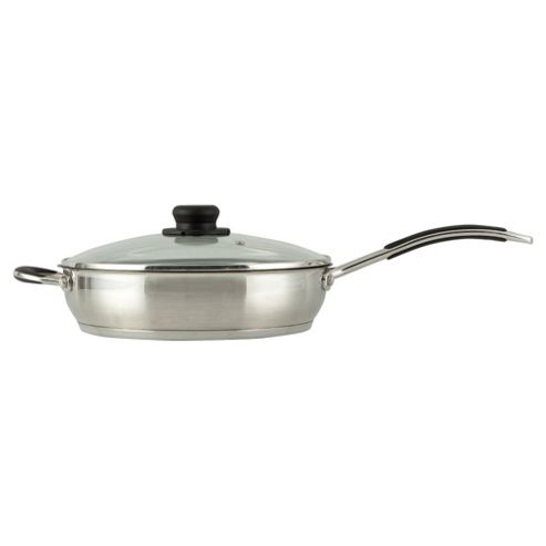 Go Cook 28cm Saut?? Pan with Lid - Stainless Steel