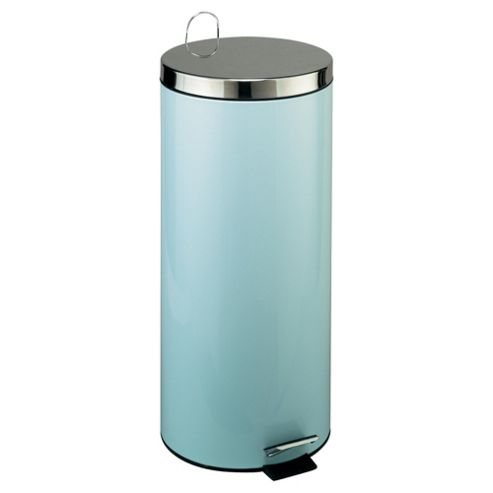Tesco 30L Pale Blue Pedal Bin With Stainless Steel Lid
