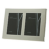 Linea Double Aperture Modern Plated Photo Frame Silver