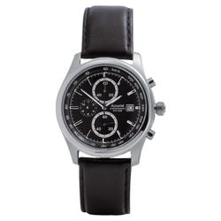 Accurist mens black chrono with black leather strap