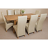 Seattle Solid Oak Extending 150 - 210 cm Dining Table with 8 Ivory Lola Leather Chairs