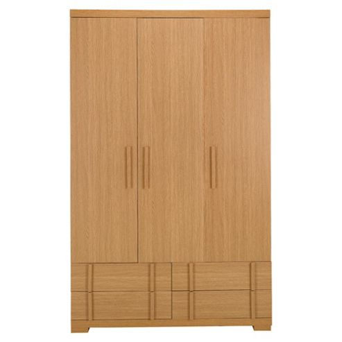 Brandon 3 Door Wardrobe, Oak Effect