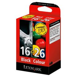 Lexmark 16 / Lexmark 26 Printer Ink Cartridge - Black & Tri-colour Multipack (80D2126)