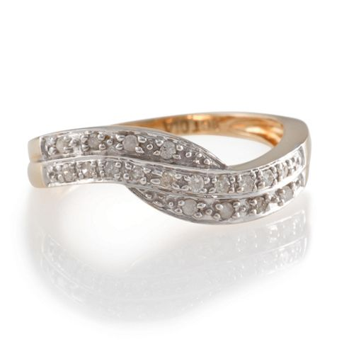 9ct Gold 11Pt Diamond Twist Ring, O
