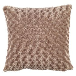 F&F Home Rose Faux Fur Cushion, Mink