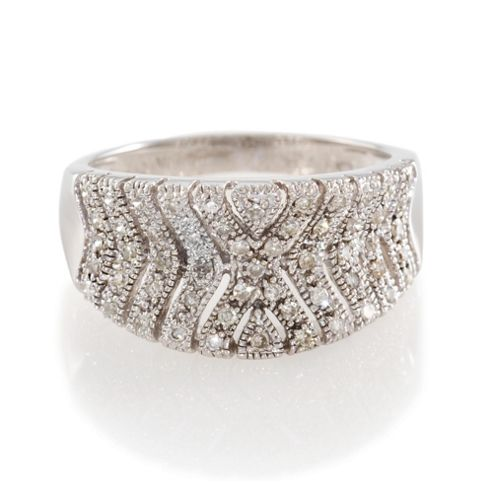 9ct white gold 35point diamond ring N