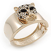Statement Crystal 'Tiger' Hinged Bangle Bracelet In Gold Plating - 18cm Length