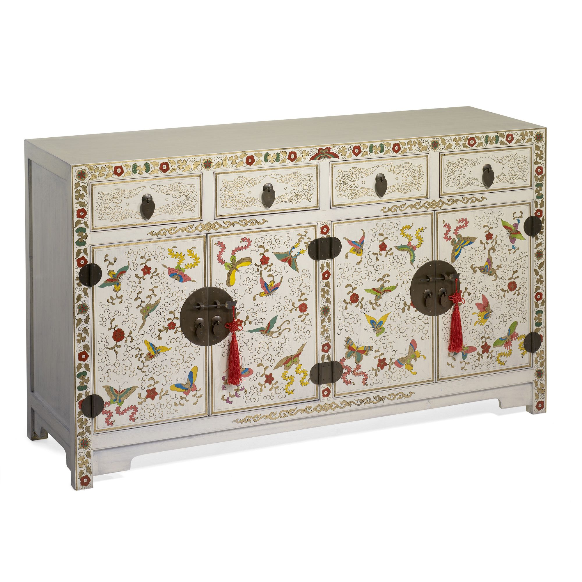 Shimu Chinese Classical Shanxi Butterfly Sideboard - Cream Lacquer at Tesco Direct