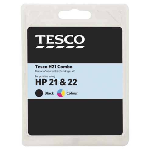 Tesco H170 and H180 Black & Colour Printer Ink Cartridge Multipack (Compatible with printers using HP 21 & HP 22 Cartridge)