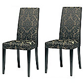 Lucca Pair Of Chairs Black Legs & Black Damask